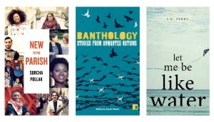 New to the Parish by Sorcha Pollak (out in May); Banthology: Stories from Unwanted Nations, edited by Sarah Cleave (out in January); and Let Me Be Like Water by SK Perry (out in May)
