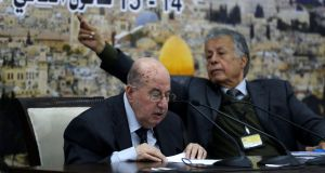 Senior Palestinian official Salim Zaanoun reads a statement at the end of a meeting of the Palestinian Central Council in the West Bank city of Ramallah on Tuesday. Photograph: Abbas Momani/AFP/Getty Images