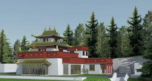 An artist's impression of what the temple at Dzogchen Beara Buddhist Retreat Centre will look like when completed