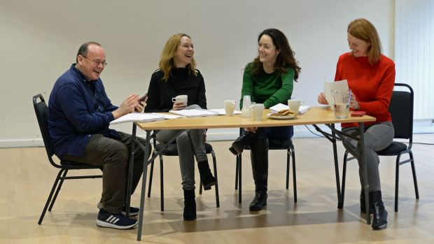 Rehearsals for Mark O'Rowe's The Approach: Mark, Cathy Belton, Derbhle Crotty and Aisling O'Sullivan. Photograph: Cyril Byrne
