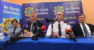 Gardai, including Superintendent Flor Murphy (second right) at a  briefing for the media in Caherciveen Garda station where he confirmed a review was underway into the discovery of the body of a baby boy on a beach in 1984. Photograph:  Domnick Walsh