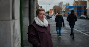 Magdalene laundry: Samantha Long outside the Gloucester Street laundry; her birth mother, Margaret Bullen, was transferred to the laundry at 16. Photograph: Paulo Nunes dos Santos/NYT