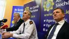 Garda Breda O'Donoghue, Det Walter O'Sullivan, Supt Flor Murphy and Det John Brennan  at the Kerry Babies press conference in Cahersiveen Garda station on Tuesday. Photograph: Don MacMonagle