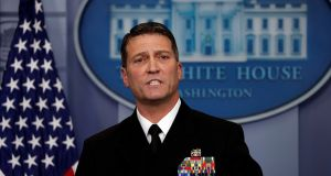 White House presidential physician Ronny Jackson answers questions about Donald Trump's health after the president's annual physical, at the White House in Washington, on Tuesday. Photograph: Carlos Barria/Reuters