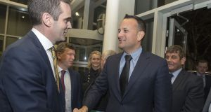 Taoiseach Leo Varadkar meeting IFA president Joe Healy at the Irish Farm Centre on Tuesday, where he addressed the association's agm. Photograph: Dave Meehan