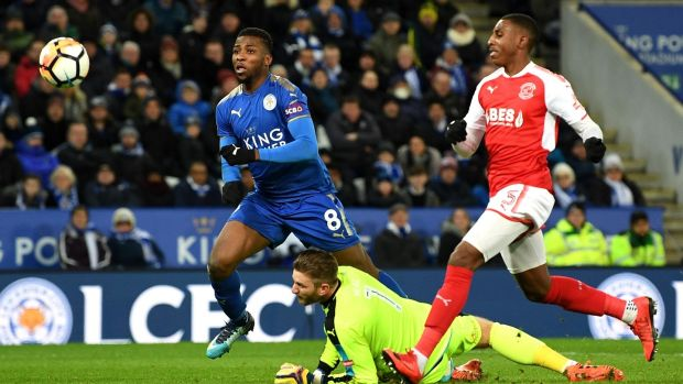 Kelechi Iheanacho scores his second goal for Leicester City in the FA Cup third-round replay against Fleetwood Town at The King Power Stadium. Photograph: Michael Regan/Getty Images