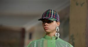 A model at the Burberry Spring/Summer 2018 show at London Fashion Week. Photograph: Mary Turner/File/Reuters