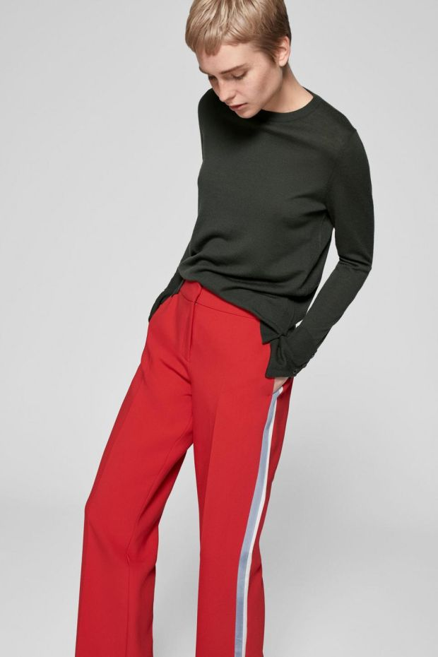 "Me+Em has released red ""man pants"" with go-faster stripes in pale blue and white for €192"