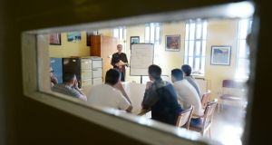 Domini Kemp speaks to prisoners at Wheatfield Prison while running her entrepreneurship programme, now in its second year. Photograph: Alan Betson