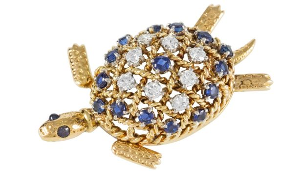 Sapphire and diamond 'Turtle' brooch by Cartier, €6,500-€8,500 at O'Reilly's