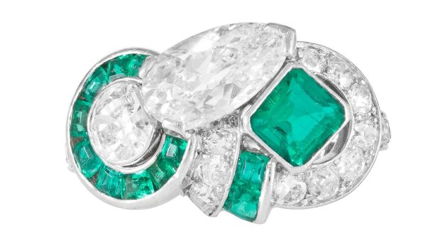 Art deco emerald and diamond ring, 1940, €14,000-€18,000 at O'Reilly's