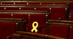 Ribbon in support of Catalonian politicians who have been jailed on charges of sedition. Photograph: Manu Fernandez/AP Photo