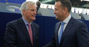 EU chief Brexit negotiator Michel Barnier  and Taoiseach Leo Varadkar before a debate on the future of Europe at the European Parliament in Strasbourg, France. Photograph: Vincent Kessler/Reuters