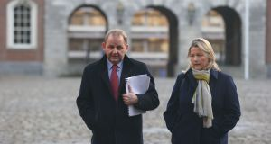 Maurice McCabe and  his wife Lorraine at the Disclosures Tribunal at Dublin Castle. Photograph:  Stephen Collins/Collins