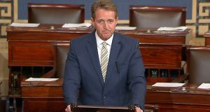 "Republican senator Jeff Flake speaking on the Senate floor at the Capitol in Washington on Wednesday. ""It is a testament to the condition of our democracy that our own president uses words infamously spoken by Joseph Stalin to describe his enemies,"" he said.  Photograph: Senate TV via AP"