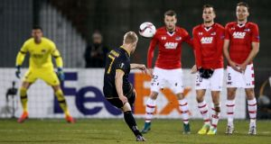 Daryl Horgan takes a free kick in Dundalk's Europa League group stage game against AZ Alkmaar at Tallaght Stadium in November 2016. Photograph:  Tommy Dickson/Inpho