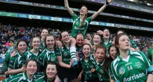 Cahir Ladies celebrate winning the Camogie Club Championship Final in Croke  Park in 2016. Photograph: Lorraine O'Sullivan/Inpho