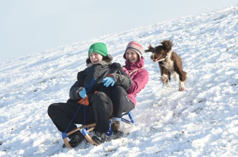 SNOW FUN Evelyn Cribbons, from Dunshaughlin, with Jenny Copeland, from Drumree, at the Hill of Tara. Photograph: Alan Betson