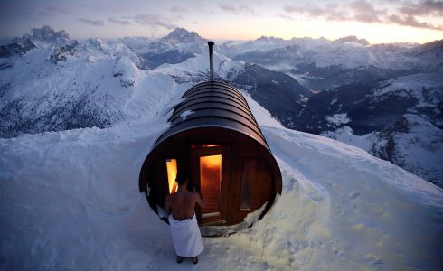 PEAK HEAT A sauna at the top of Mount Lagazuoi, in the Italian ski resort of Cortina D'Ampezzo. Photograph: Stefano Rellandini/Reuters