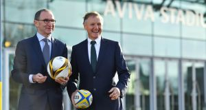 Republic of Ireland manager Martin O'Neill and Ireland head coach Joe Schmidt at the announcement that Aviva Ireland is extending its naming rights of the Aviva Stadium until 2015. O'Neill will sign a new contract  ahead of the Nations League draw on Wednesday, said FAI chief John Delaney. Photograph: Brendan Moran/Sportsfile