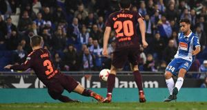 Oscar Melendo  scores for Espanyol in the Copa del Rey quarter-final first leg against Barcelona at Nuevo Estadio de Cornella-El Prat in Barcelona. Photograph: David Ramos/Getty Images