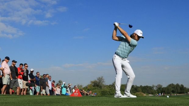 Tommy Fleetwood has the clubhouse lead in Abu Dhabi. Photograph: Andrew Redington/Getty