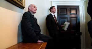 White House chief of staff John Kelly (left) looks on as President Donald Trump meets with members of Congress to discuss immigration policy, at the White House on January 9th. Photograph:  Doug Mills/The New York Times