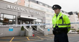A garda outside the Regency Hotel in Dublin following the murder of  David Byrne on February 5th, 2016.  Photograph: Gareth/Chaney Collins