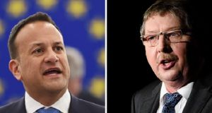 DUP MP Sammy Wilson (right) was reported as describing Taoiseach Leo Varadkar (left) as a 'nutcase'. Photographs: AFP/Getty Images.