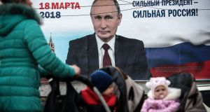 "Billboard with an image of Russia's president Vladimir Putin and the words ""Strong president –  Strong Russia!"" in Simferopol, Crimea, on January 18th, 2018."