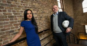 Dr Jag Basra, co-founder & chief executive of Profile 90, with fellow co-founder and business development manager Trevor Keane. Photograph: Shane O'Neill