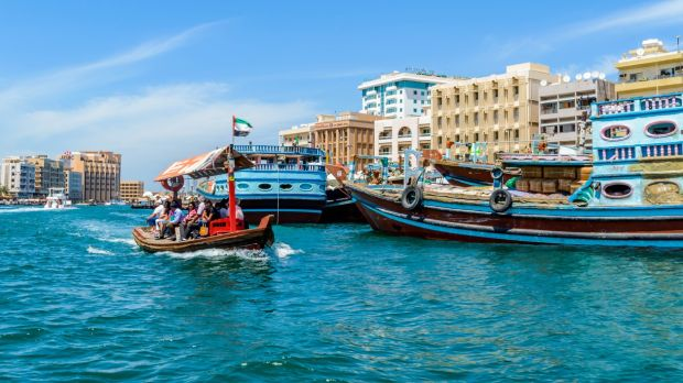 Crossing Dubai Creek in an abra boat. Photograph: Getty Images
