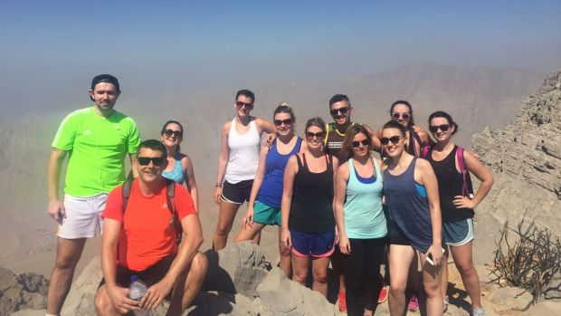 Lisa Donohue and friends at the top of Jebel Jais, the highest point of the UAE situated in the Emirate of Ras al Khaimah, an hour outside of Dubai.