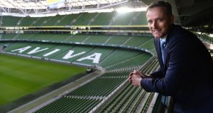 Aviva chief executive Mark Wilson at the Aviva Stadium in Dublin. The insurance group has extended until 2025 its contract for the venue's naming rights. Photograph: Dara Mac Dónaill