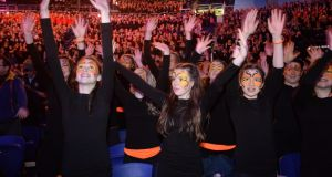 CYCLE AGAINST SUICIDE: Students Ciara Brady (left), Chloe Kavanagh and Alanna McCarron Walsh, from Our Lady's Secondary School, Castleblaney, Co Monaghan, taking part in the Cycle Against Suicide, student leaders' congress, at the 3Arena, Dublin. Photograph: Dara Mac Dónaill/The Irish Times