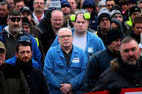 PROPOSED SANCTIONS: Bombardier workers listen to speeches by Unite union officials at a protest in Belfast against  proposed sanctions by the US International Trade Commission against the company after a complaint taken by Boeing. Photograph: Stephen Davison/Pacemaker