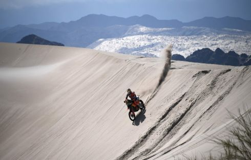 DAKAR RALLY: French biker Antoine Meo powers a KTM bike during Stage 11 of the 2018 Dakar Rally between Belen and Chilecito, in Argentina. Photograph: Franck Fife/AFP/Getty Images