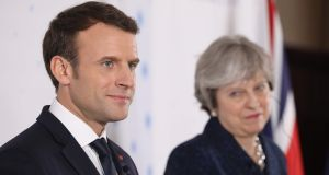 French president Emmanuel Macron and Britain's prime minister Theresa May hold a press conference at the Royal Military Academy in Sandhurst, west of London,  on Thursday. Photograph: Ludovic Marin/AFP/Getty Images