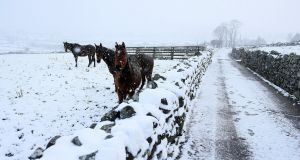Met Éireann has updated a snow and ice warning for Ireland. File photograph: Brian Lawless/PA Wire