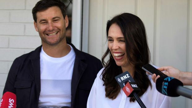 New Zealand's prime minister Jacinda Ardern and her partner Clarke Gayford announce to the press they are expecting their first child, in Auckland on January 19th. Photograph: Diego Opatowski/AFP/Getty Images
