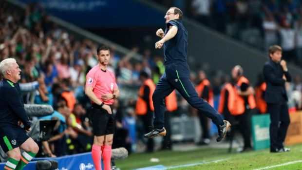 Martin O'Neill at Ireland's Italy match at Euro 2016: he is able to shake performances from sometimes middling, underdog XIs at just the right moment. Photograph: James Crombie/Inpho
