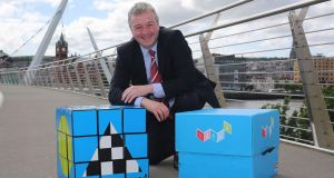 Izak9 creator Franz Schlindwein: his product, which resembles a cube, is an interactive maths-learning resource aimed at children in the final years of primary school. Photograph: Lorcan Doherty