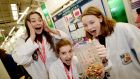Ellie Concannon, Aoibhe Briscoe and Kate Owens from Coláiste Iognaid, Galway with their project on microbeads and microplastics in water at the 2018 BT Young Scientist & Technology Exhibition at the RDS. Photograph: Alan Betson / The Irish Times