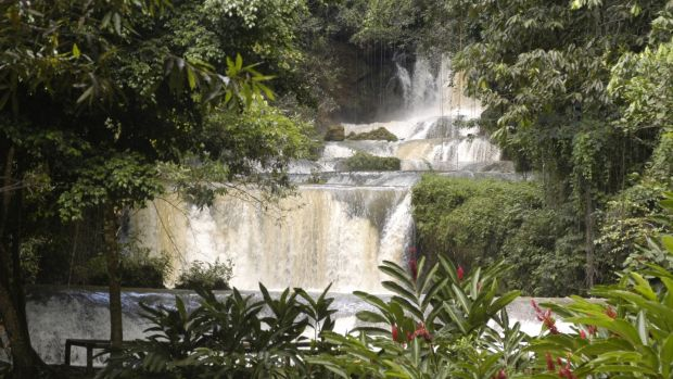 YS Falls: less crowded than the more famous Dunn's River waterfall in Ochos Rios, which is a massive tourist trap. Photograph: Ian Cumming/Getty Images
