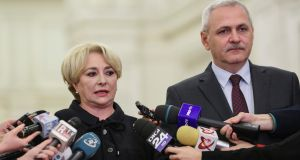 Viorica Dancila, the newly appointed Romanian prime minister with Liviu Dragnea, the leader of the ruling Social Democrat Party: new government will face widespread public discontent and growing EU scrutiny. Photograph: Octav Gane AFP/Getty
