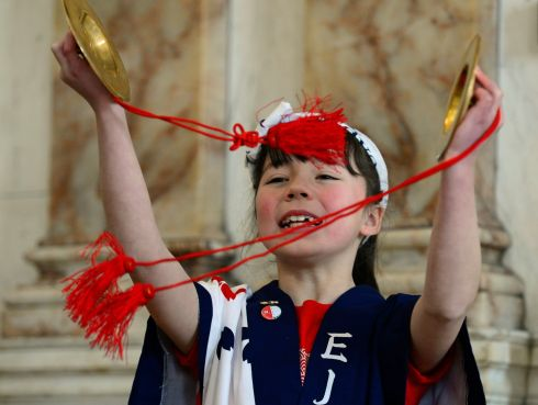 JAPAN LINK: Laoise O'Connor, a member of the EJ Taiko team, during the closing  ceremony marking the 60th anniversary of diplomatic relations  between Ireland and Japan at Iveagh House in Dublin. Photograph: Cyril Byrne/The Irish Times
