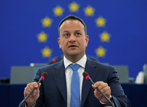 FUTURE OF EUROPE: Taoiseach Leo Varadkar delivers a speech during a debate on the future of Europe at the European Parliament in Strasbourg, France. Photograph: Vincent Kessler/Reuters