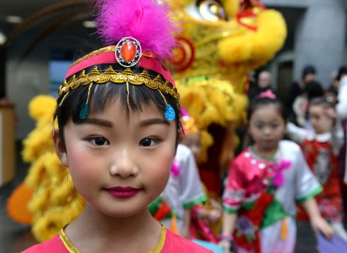 CHINESE NEW YEAR: Colina Zheng, from Newbridge, Co Kildare, at the  launch by Lord Mayor Micheal MacDonnacha of the Dublin Chinese New Year Festival at the Chester Beatty Library in Dublin. Photograph: Cyril Byrne/The Irish Times