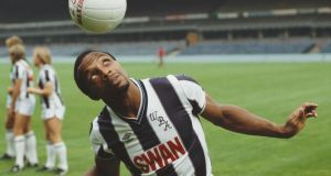 The Hawthorns: Cyrille Regis at the West Bromwich Albion ground in 1984. Photograph: David Cannon/Allsport/Getty