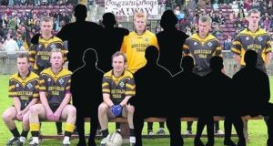 A social media depiction of the  Cárna-Caiseal GAA team   of 2005. Over half the players have left the area and their faces  are  blanked out – two further team members have left since those blank-outs were made. Photograph: Sportsfile